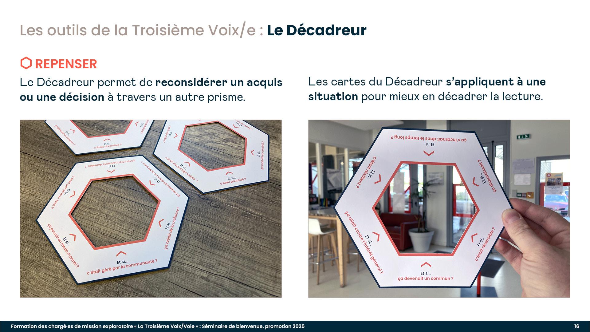 Diaporama de formation : présentation de l'outil Le Décadreur, pour explorer les alternatives à la mise en place d'un algorithme public