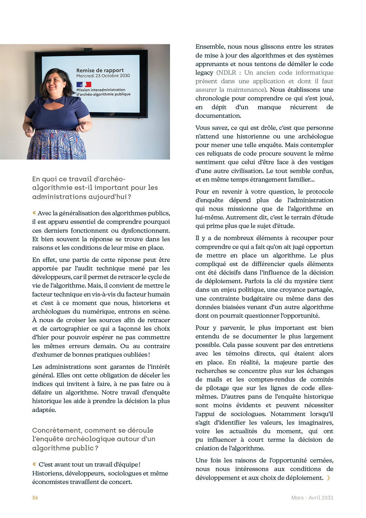 Page d'interview d'une historienne des algorithmes publics / Une version accessible peut-être téléchargée au lien suivant : http://nosalgorithmes.fr/wp-content/uploads/2021/06/NosAlgos-ArcheologieHistoriographieAlgo-itv.pdf
