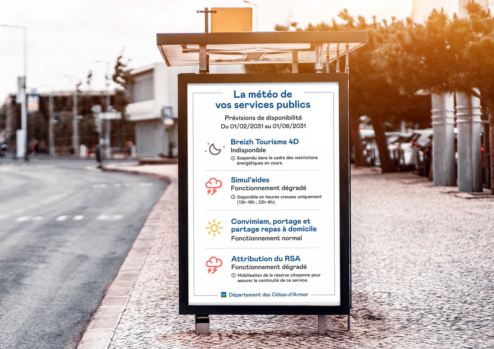 Affichage de la météo des services publics dans l'espace public, selon la disponibilité des services numériques et algorithmes