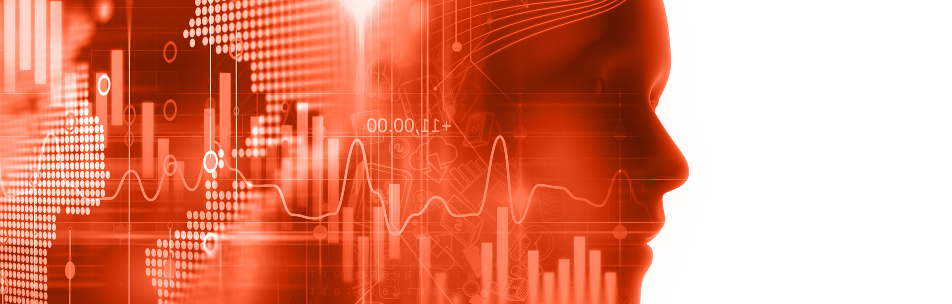 Image d'illustration : Silhouette se détachant d'un fond fait de données numériques et de graphiques